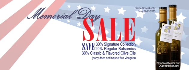 Memorial Day Cooking!    save 20-30% on OO&B Olive Oils and Premium balsamics!