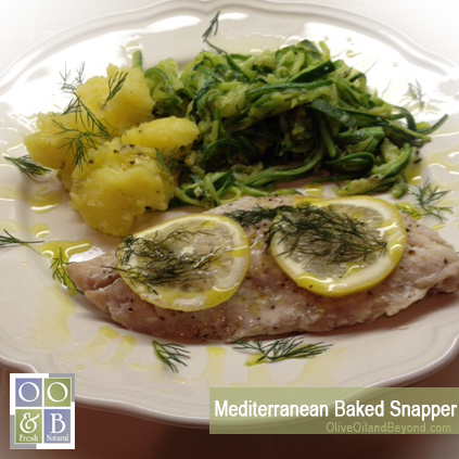 Mediterranean Baked Snapper recipe Olive Oil and Beyond lrg