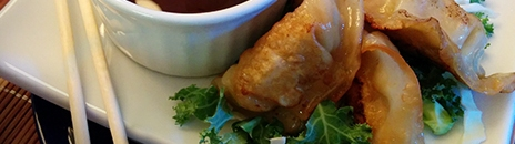 potstickers and OliveOil and Beyond Spicy dipping sauce