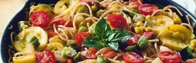 summer garden pasta, dished for early fall