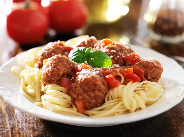 Wolfgang Puck's favorite spaghetti and meatballs with basil