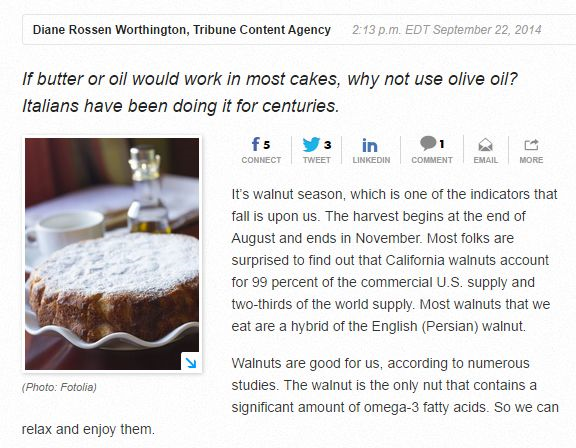 If Butter or oild would be in most cakes-why not use olive oil-Italians have been doing it for centuries