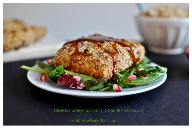 Almond crusted salmon with Pomegranate glaze