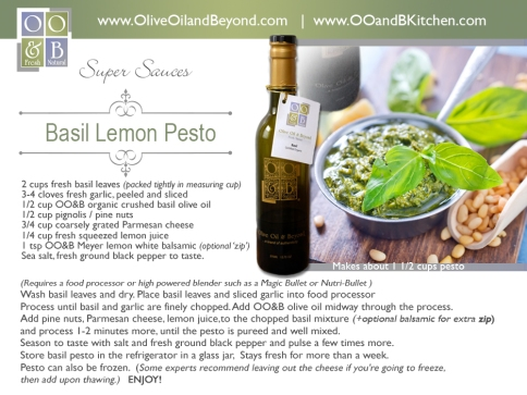 OO&B recipe card  Basil Lemon Pesto