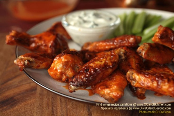 Buffalo WIngs recipe and variations on spicy wings recipes - orig photo credit CHOW.com